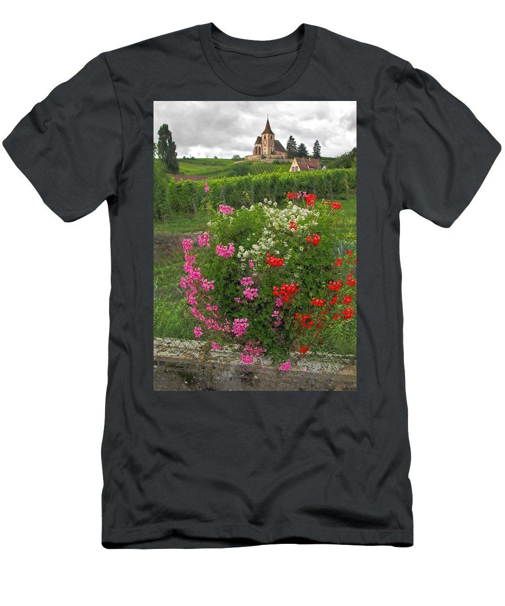 Church Men's T-Shirt (Athletic Fit) featuring the photograph A French Country Church by Dave Mills