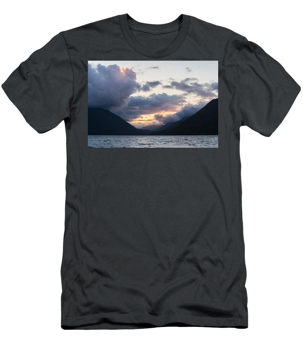 Lake Crescent Men's T-Shirt (Athletic Fit) featuring the photograph A Gathering by Kristopher Schoenleber