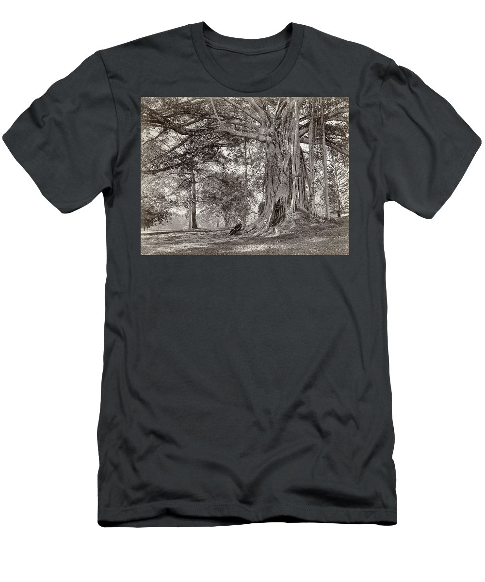 Sri Lanka Men's T-Shirt (Athletic Fit) featuring the photograph A Gentleman Sitting Beneath A Large Native Tree In British Ceylon by Scowen and Co