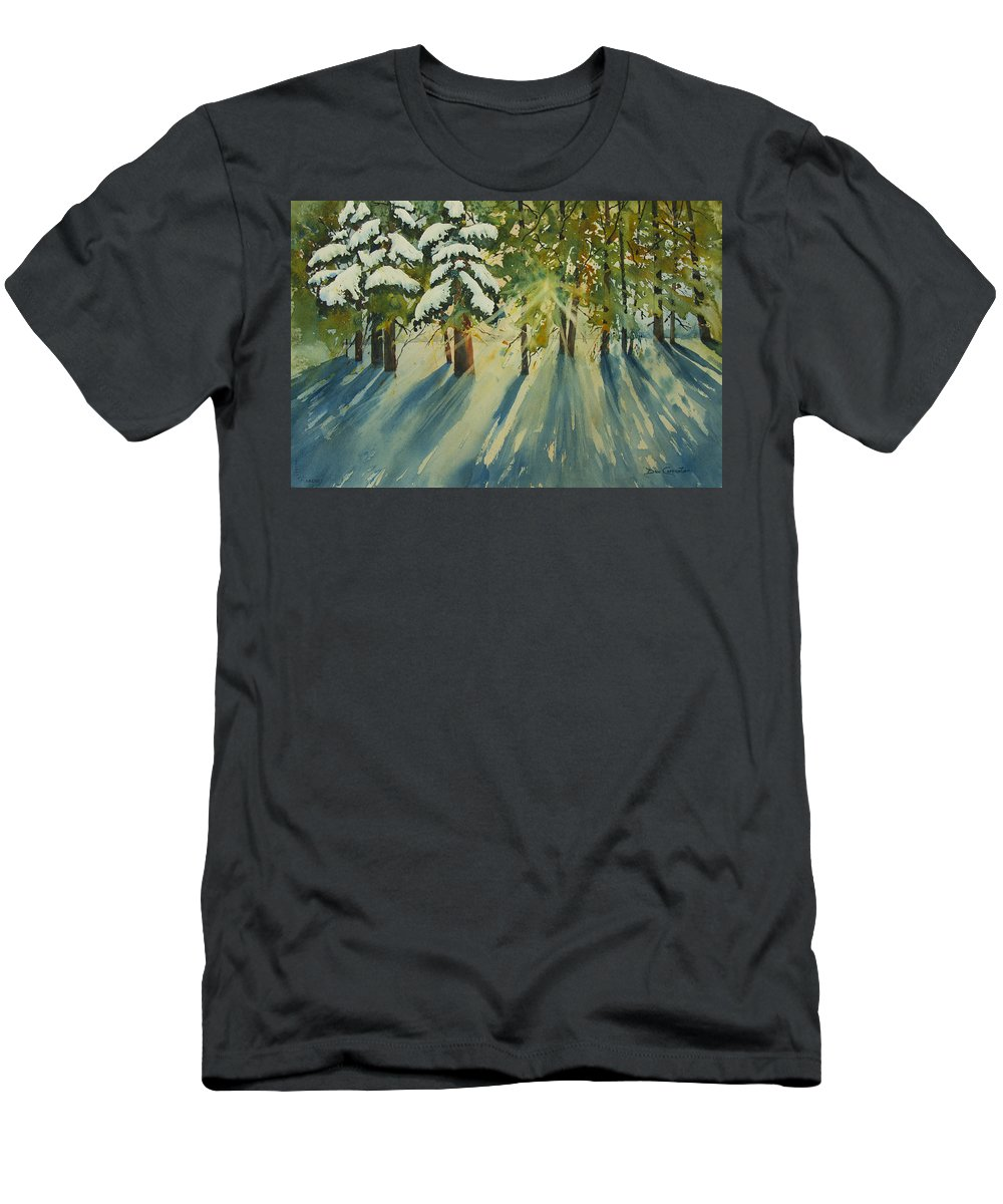 Forest Men's T-Shirt (Athletic Fit) featuring the painting A Glow In The Forest by Dee Carpenter