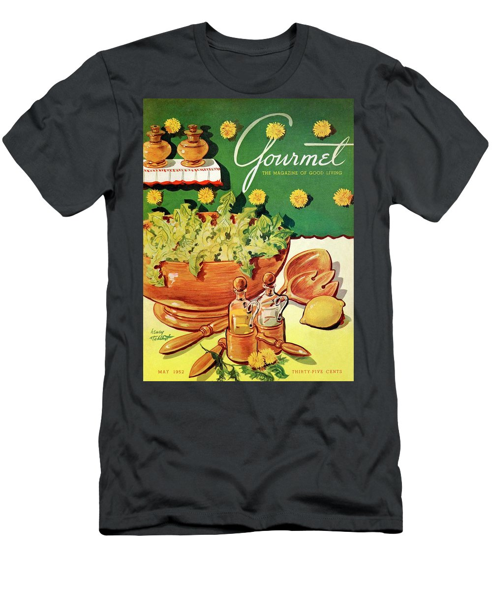 Food Men's T-Shirt (Athletic Fit) featuring the photograph A Gourmet Cover Of Dandelion Salad by Henry Stahlhut
