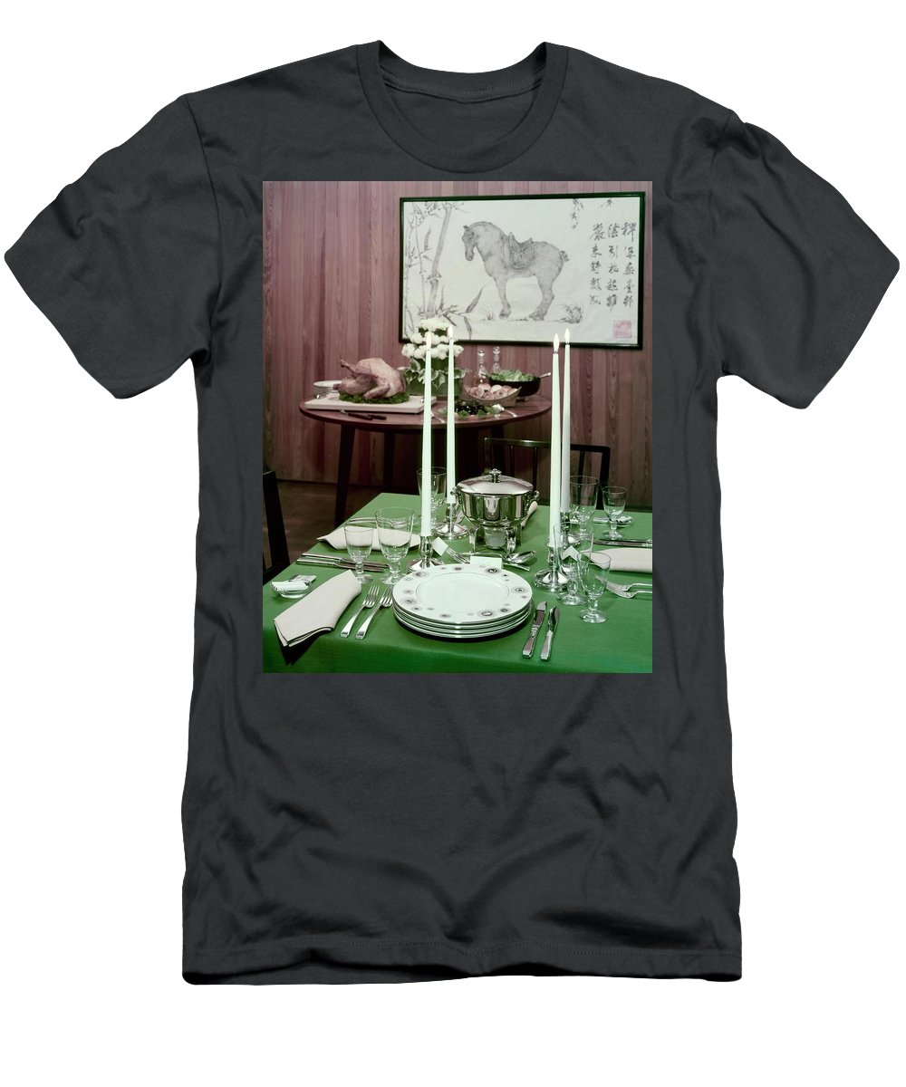 Indoors Men's T-Shirt (Athletic Fit) featuring the photograph A Green Table by Wiliam Grigsby