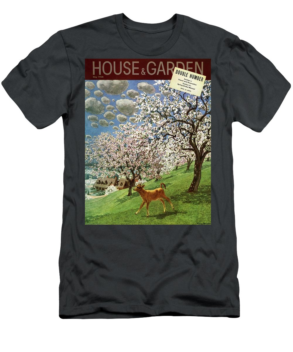 Illustration T-Shirt featuring the photograph A House And Garden Cover Of A Calf by Pierre Brissaud