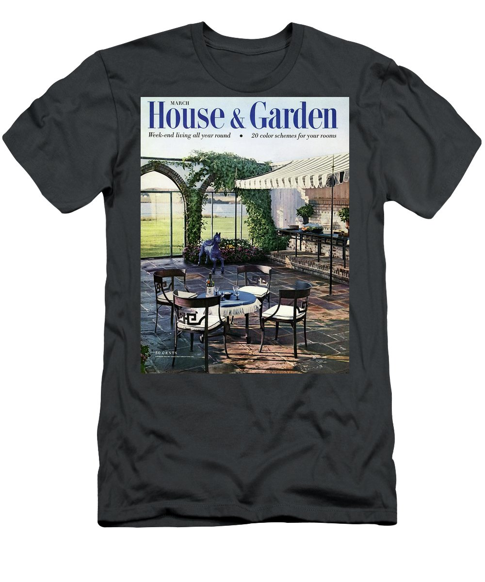 Magazine T-Shirt featuring the photograph A House And Garden Cover Of A Terrace In East by Wiliam Grigsby