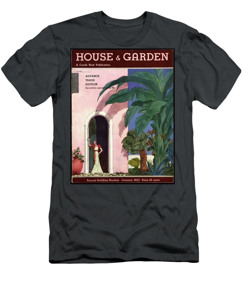 Illustration T-Shirt featuring the photograph A House And Garden Cover Of A Woman In A Doorway by Georges Lepape