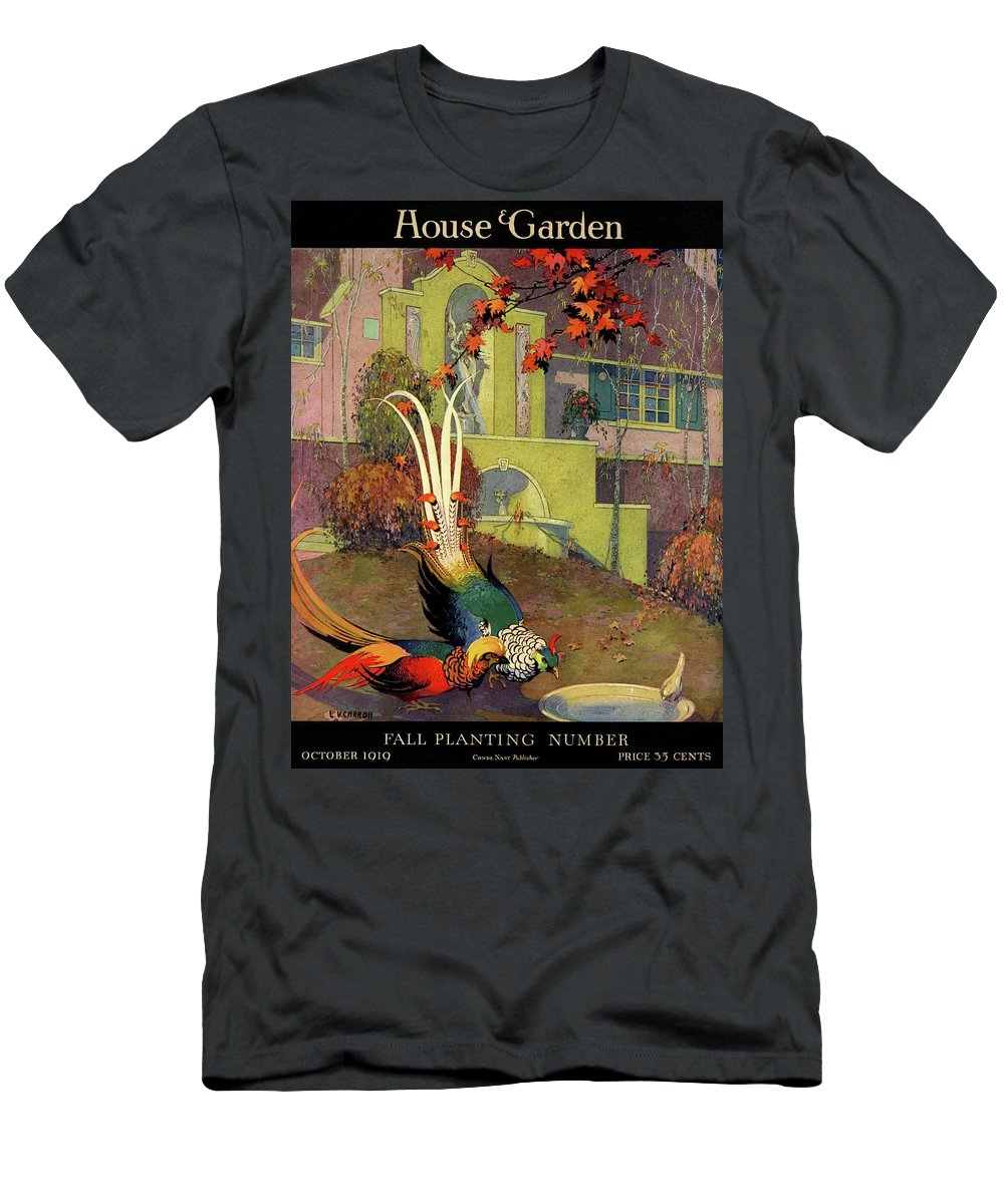 Illustration T-Shirt featuring the photograph A House And Garden Cover Of Peacocks by L. V. Carroll