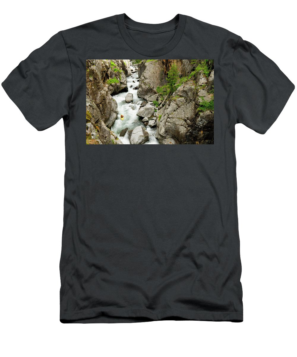 Adventure Men's T-Shirt (Athletic Fit) featuring the photograph A Kayaker Descending Vallecito Creek by Kennan Harvey