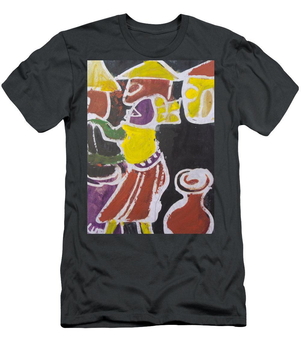 Pot Men's T-Shirt (Athletic Fit) featuring the painting A Lady Is Clean The Pot To Pour Water Inside It by Okunade Olubayo