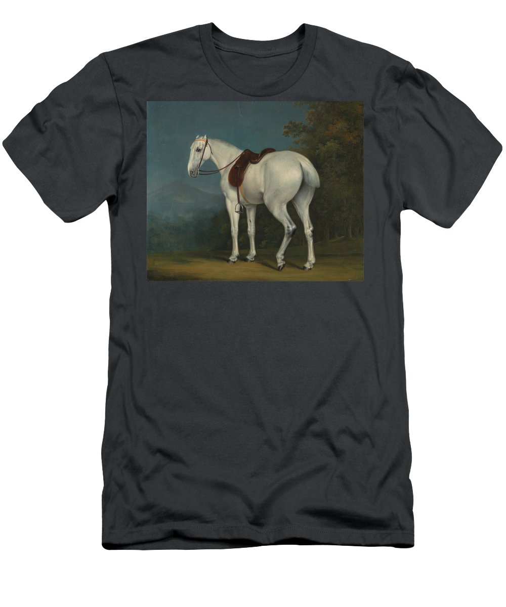 Jacques-laurent Agasse Men's T-Shirt (Athletic Fit) featuring the painting A Ladys Grey Hunter by Jacques-Laurent Agasse