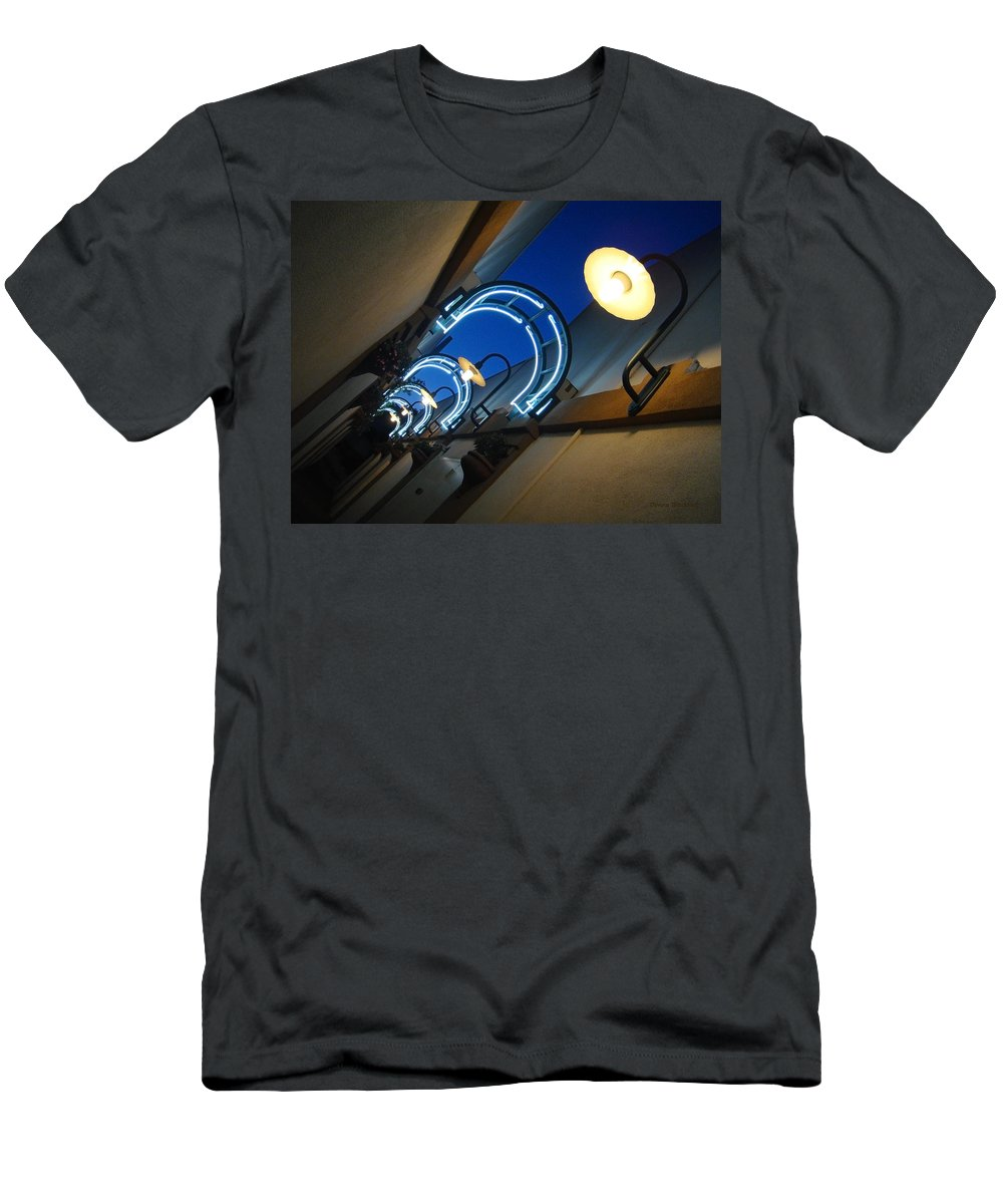City Men's T-Shirt (Athletic Fit) featuring the photograph A Light To My Path by Donna Blackhall