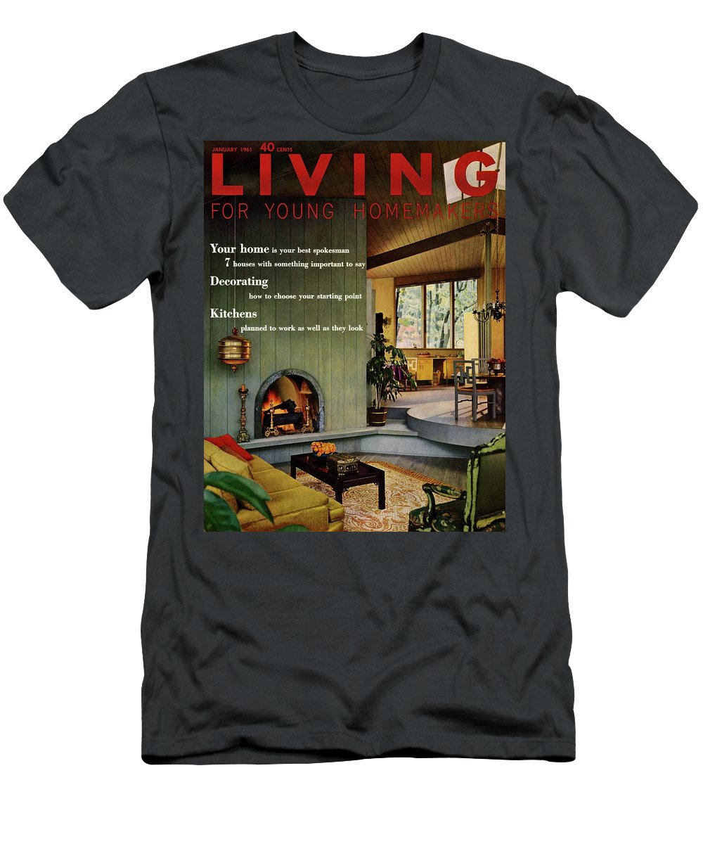 Furniture Men's T-Shirt (Athletic Fit) featuring the digital art A Living Room With Sherwin-williams Wood-paneling by Bill Margerin