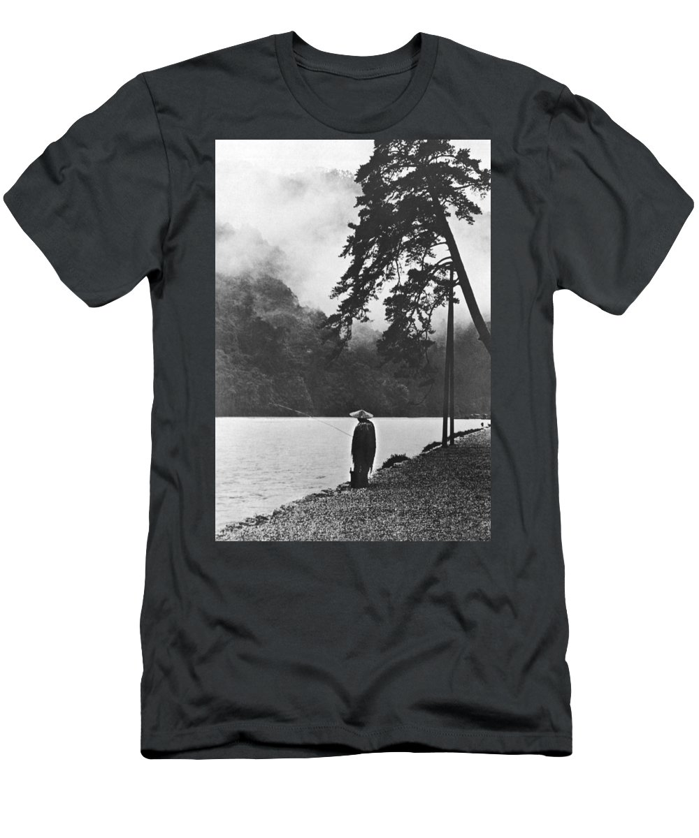 1 Person Men's T-Shirt (Athletic Fit) featuring the photograph A Lone Japanese Fisherman by Underwood Archives