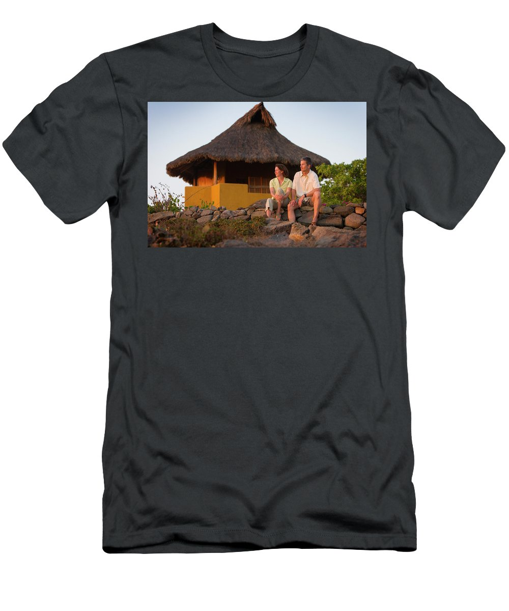 Adult Men's T-Shirt (Athletic Fit) featuring the photograph A Man And Woman Enjoy Sunset by Ty Milford