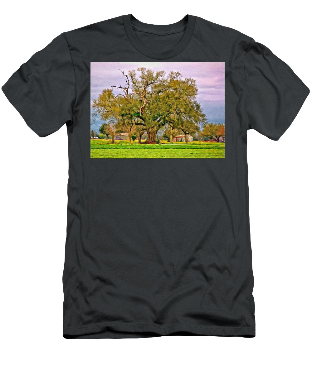 Oak Alley Plantation Men's T-Shirt (Athletic Fit) featuring the photograph A Mighty Oak - Paint by Steve Harrington