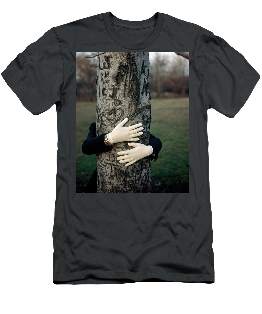 Fashion T-Shirt featuring the photograph A Model Hugging A Tree by Frances Mclaughlin-Gill