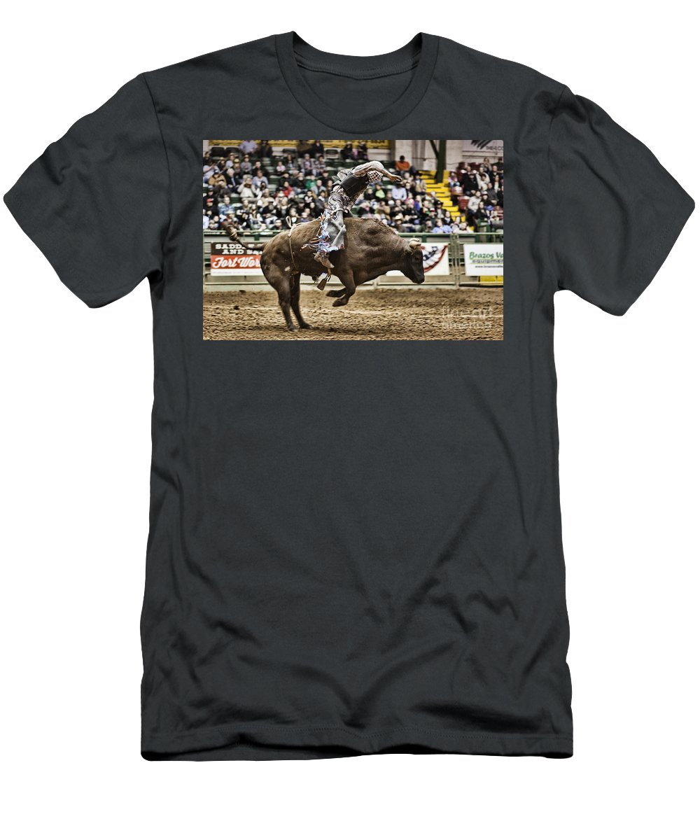 Night Men's T-Shirt (Athletic Fit) featuring the photograph A Night At The Rodeo V8 by Douglas Barnard