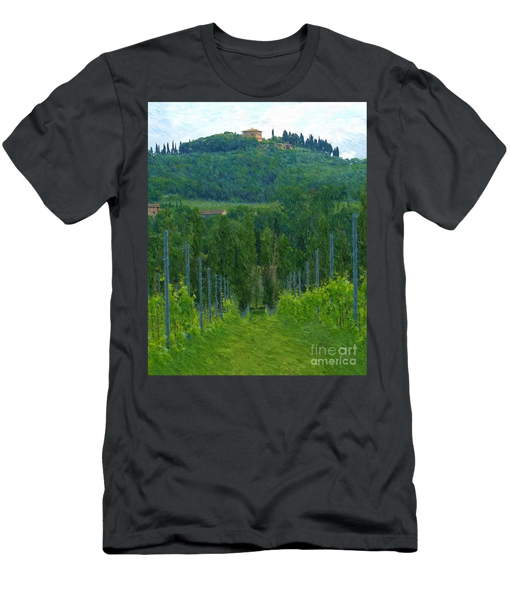 Tuscany Men's T-Shirt (Athletic Fit) featuring the photograph A Painting A Tuscan Vineyard And Villa by Mike Nellums