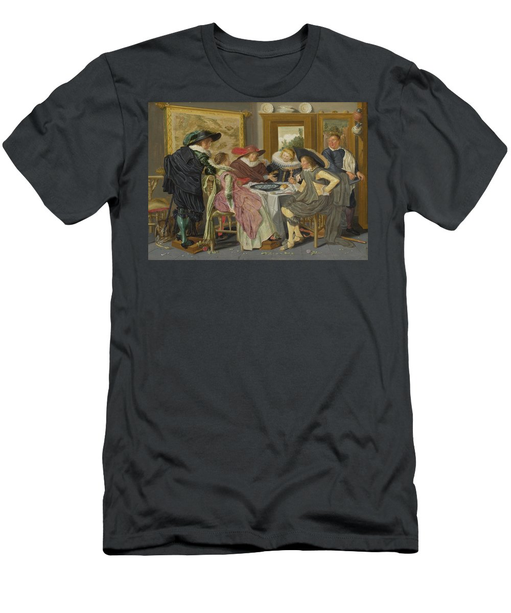 Dirck Hals Men's T-Shirt (Athletic Fit) featuring the painting A Party At Table by Dirck Hals