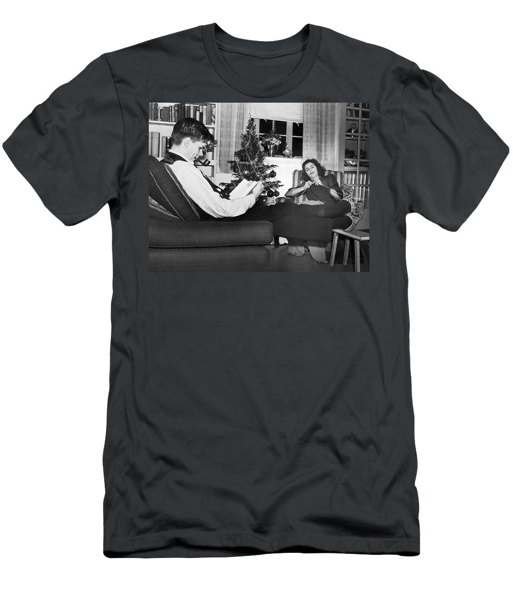 1930s Men's T-Shirt (Athletic Fit) featuring the photograph A Quiet Evening At Home by Underwood Archives
