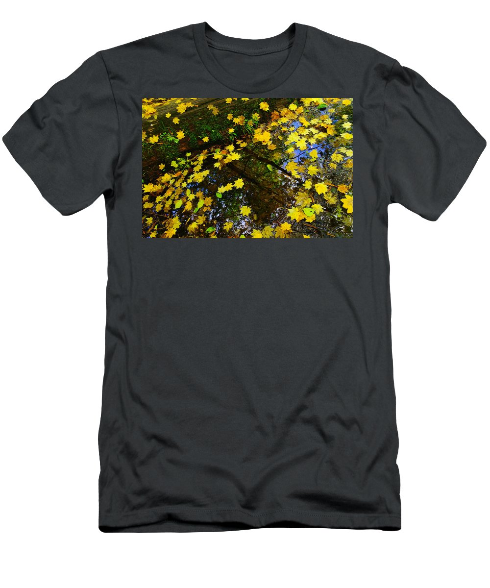 Water Men's T-Shirt (Athletic Fit) featuring the photograph A Reflection Amongst The Leaves by Jeff Swan