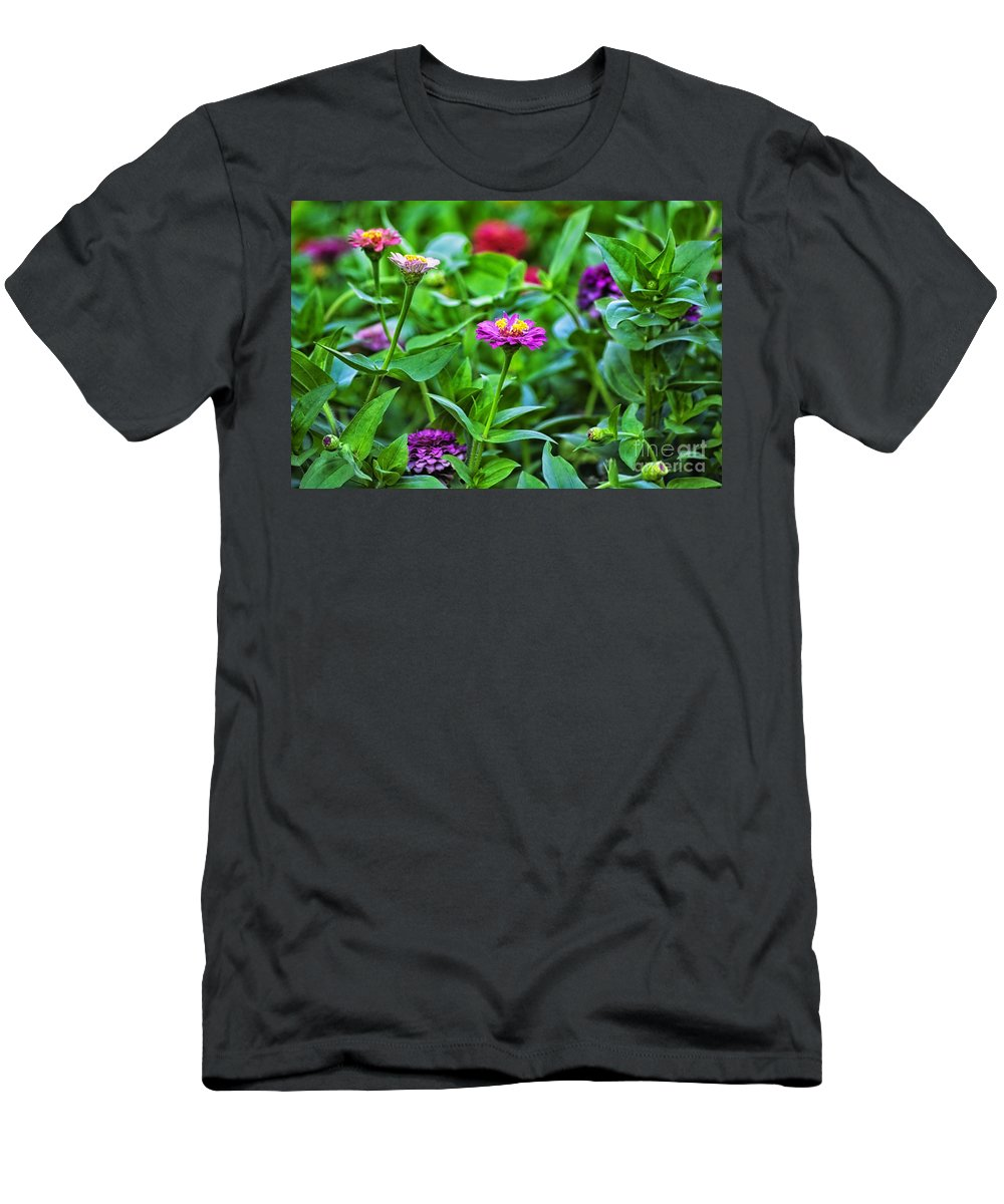 Floral Men's T-Shirt (Athletic Fit) featuring the photograph A Sea Of Zinnias 11 by Thomas Woolworth