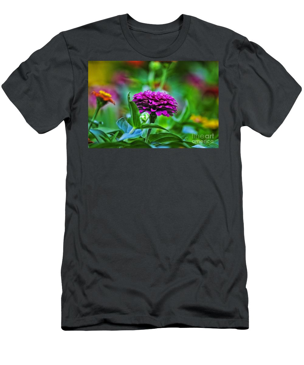 Floral Men's T-Shirt (Athletic Fit) featuring the photograph A Sea Of Zinnias 12 by Thomas Woolworth