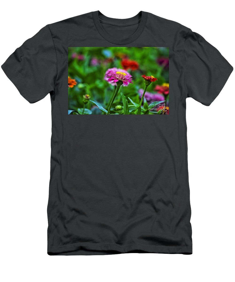 Floral Men's T-Shirt (Athletic Fit) featuring the photograph A Sea Of Zinnias 13 by Thomas Woolworth
