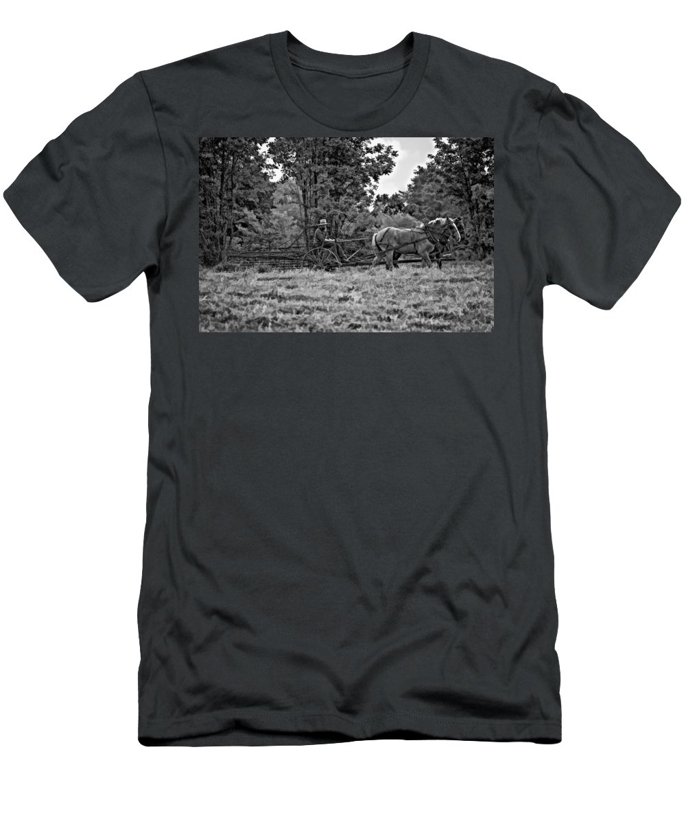 Farm Men's T-Shirt (Athletic Fit) featuring the photograph A Simpler Time Bw by Steve Harrington