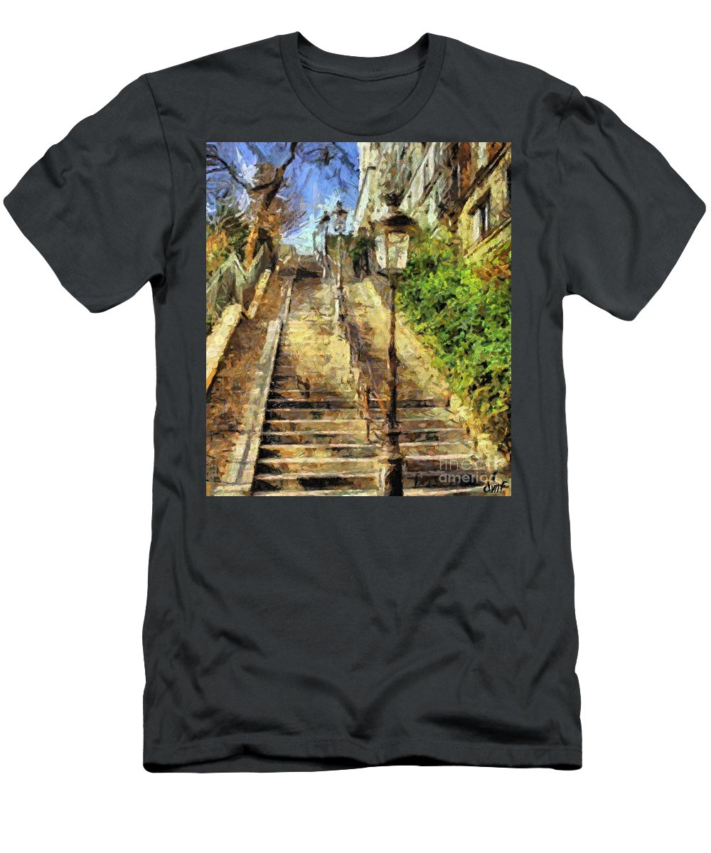 Landscapes Men's T-Shirt (Athletic Fit) featuring the painting A Stairway In Montmartre by Dragica Micki Fortuna