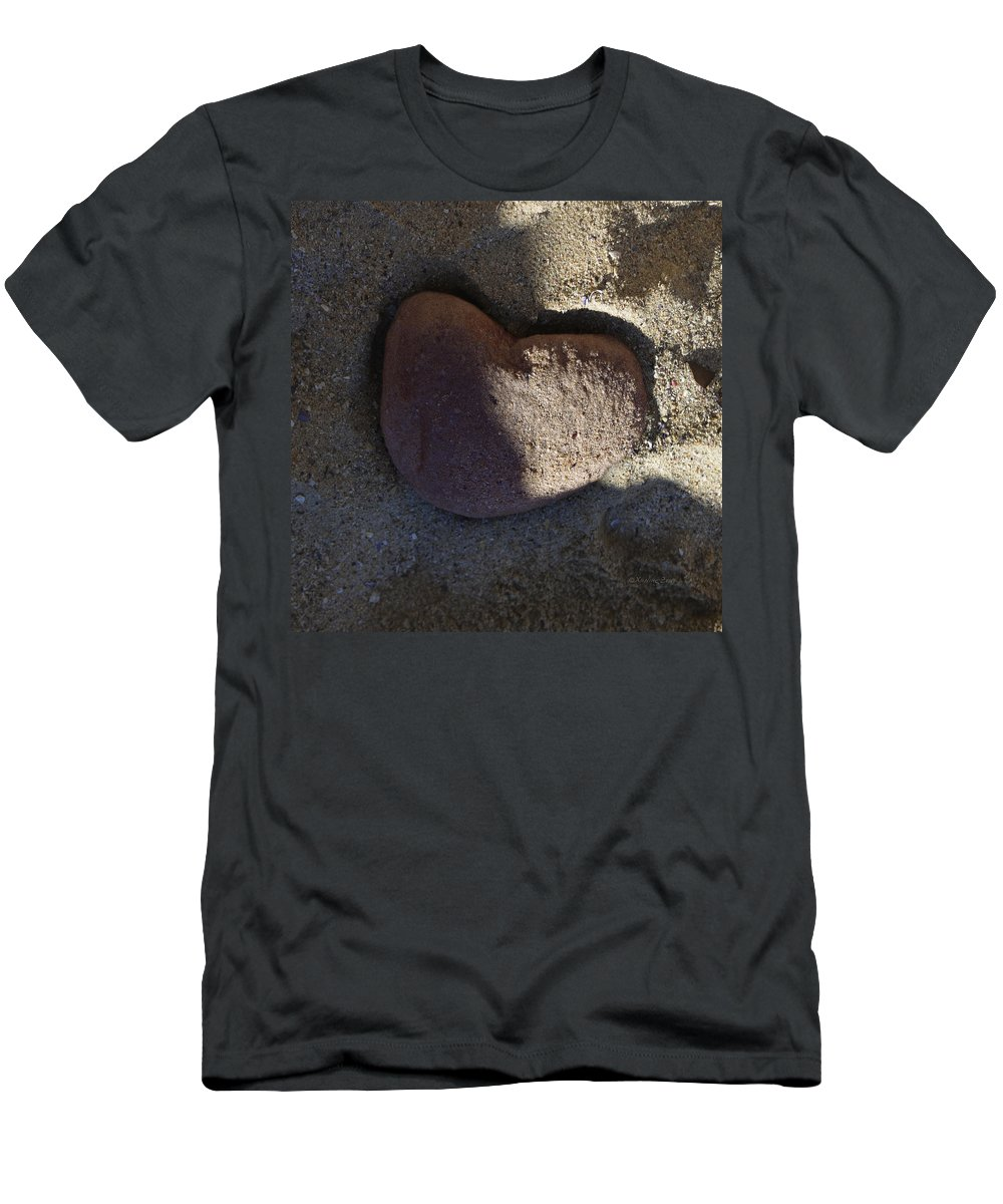 Stone Heat Men's T-Shirt (Athletic Fit) featuring the photograph A Stone Heart by Xueling Zou