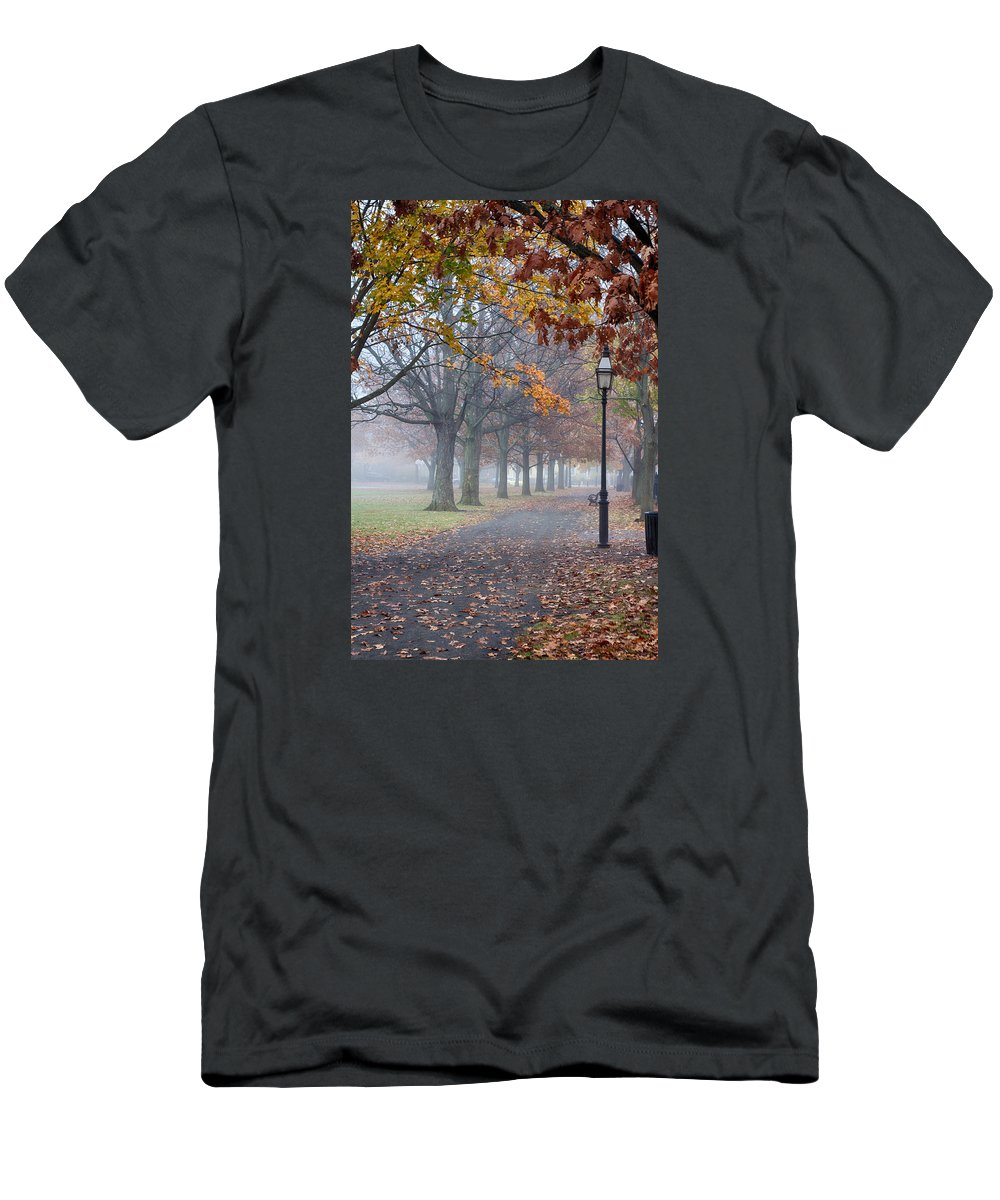 Autumn Foliage New England Men's T-Shirt (Athletic Fit) featuring the photograph A Stroll In Salem Fog by Jeff Folger