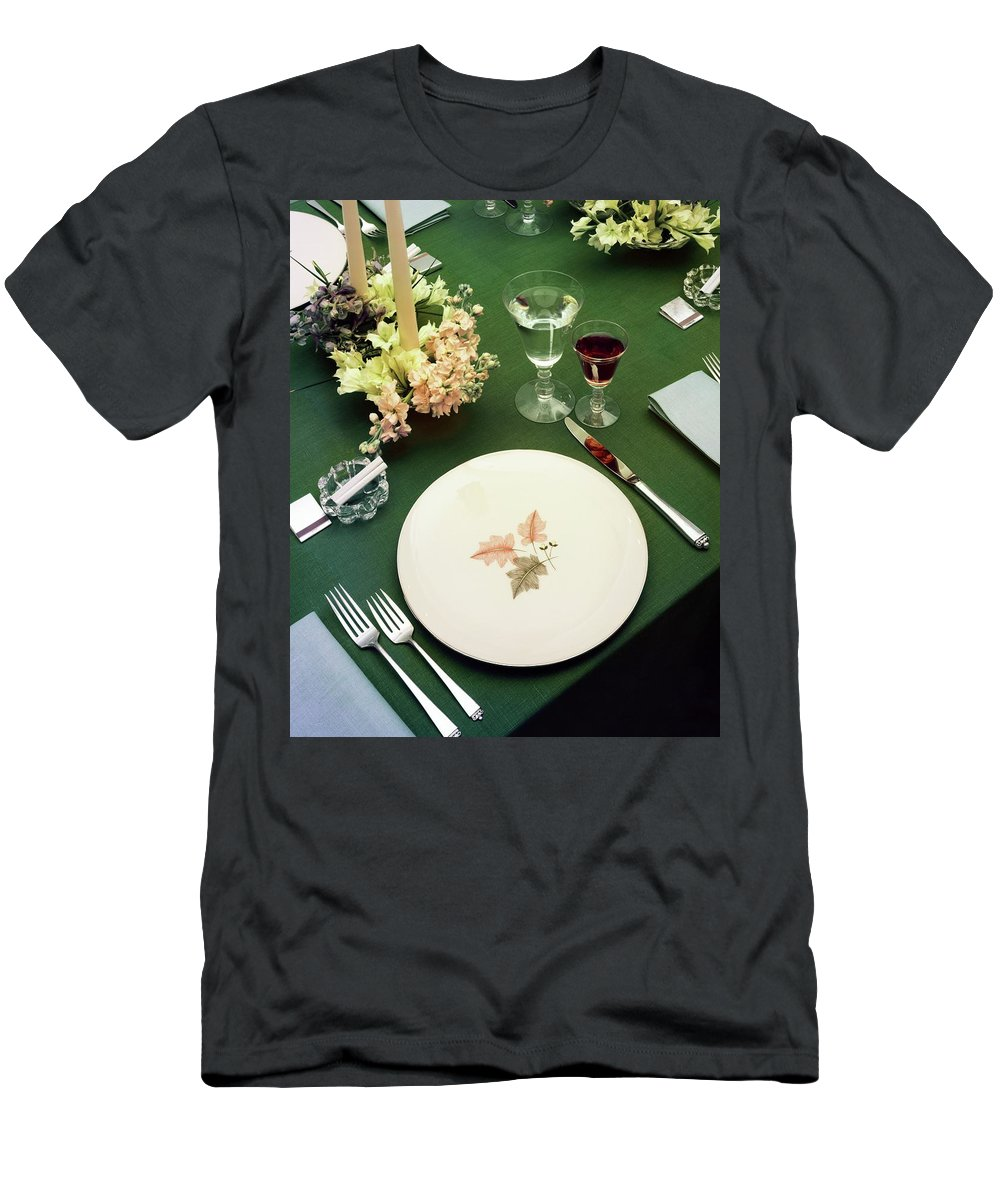 Nobody Men's T-Shirt (Athletic Fit) featuring the photograph A Table Setting On A Green Tablecloth by Haanel Cassidy