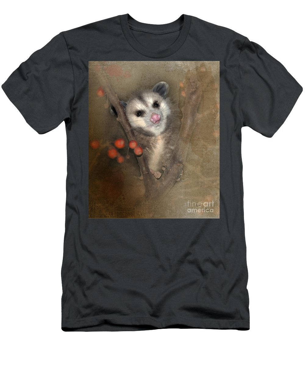 Opossum Men's T-Shirt (Athletic Fit) featuring the photograph A Thief In The Night by Betty LaRue