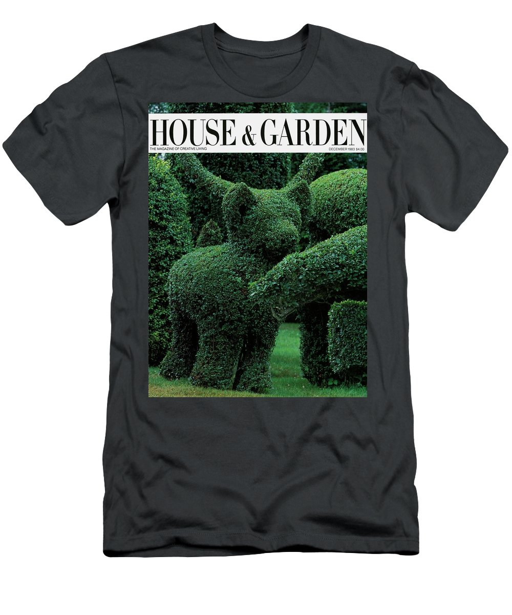 Animal Men's T-Shirt (Athletic Fit) featuring the photograph A Topiary Bear In Alice Braytons Green Animals by Horst P. Horst