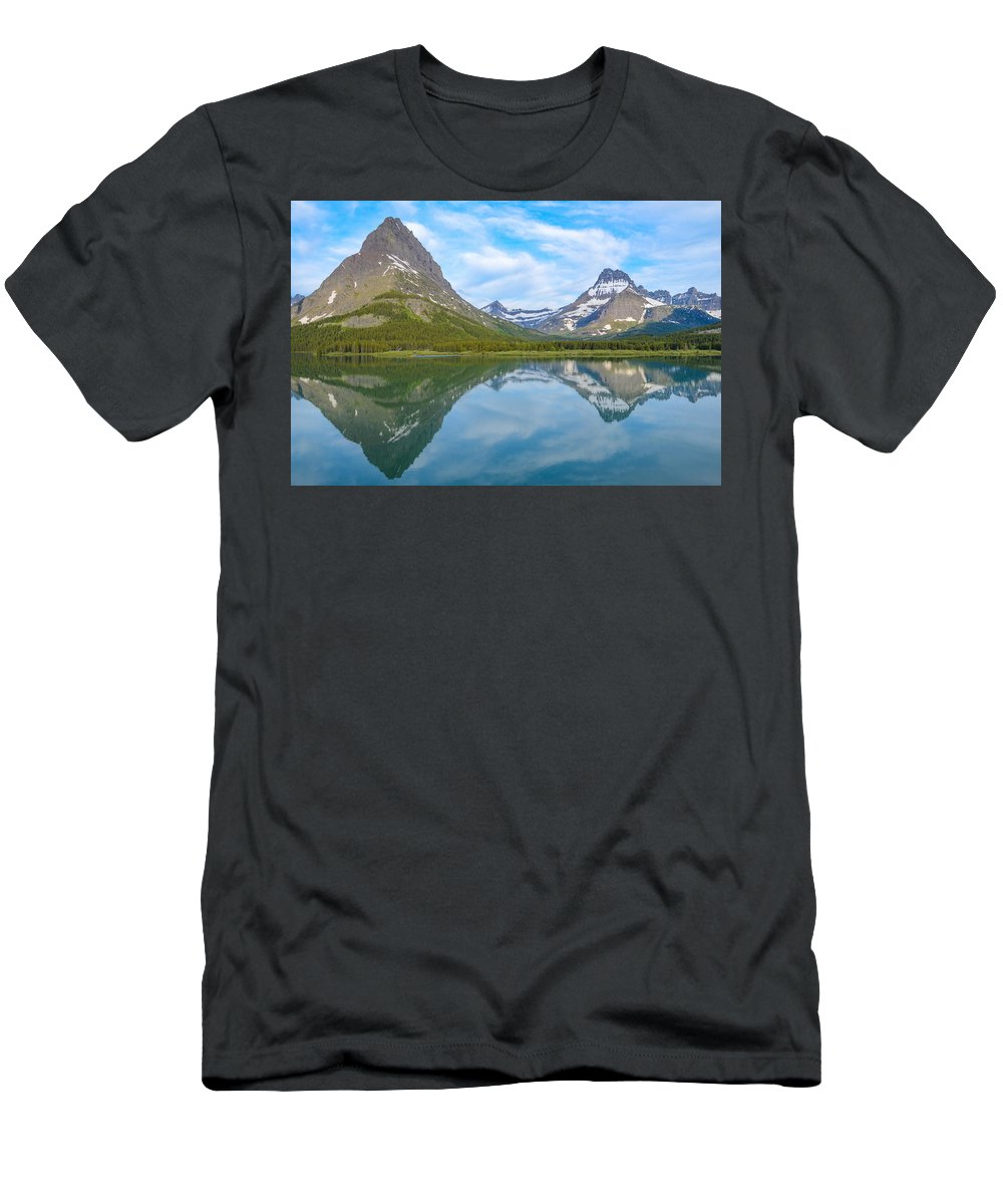 Glacier National Park Men's T-Shirt (Athletic Fit) featuring the photograph A View From The Balcony by Gales Of November
