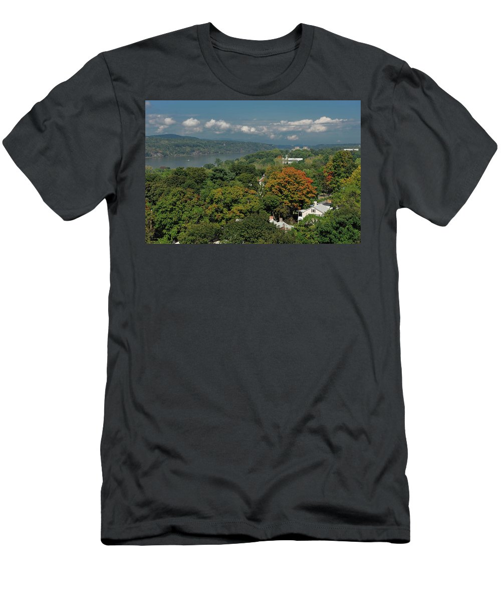 Fall Colors Men's T-Shirt (Athletic Fit) featuring the photograph A View From The Hudson River Walkway by Christian Heeb