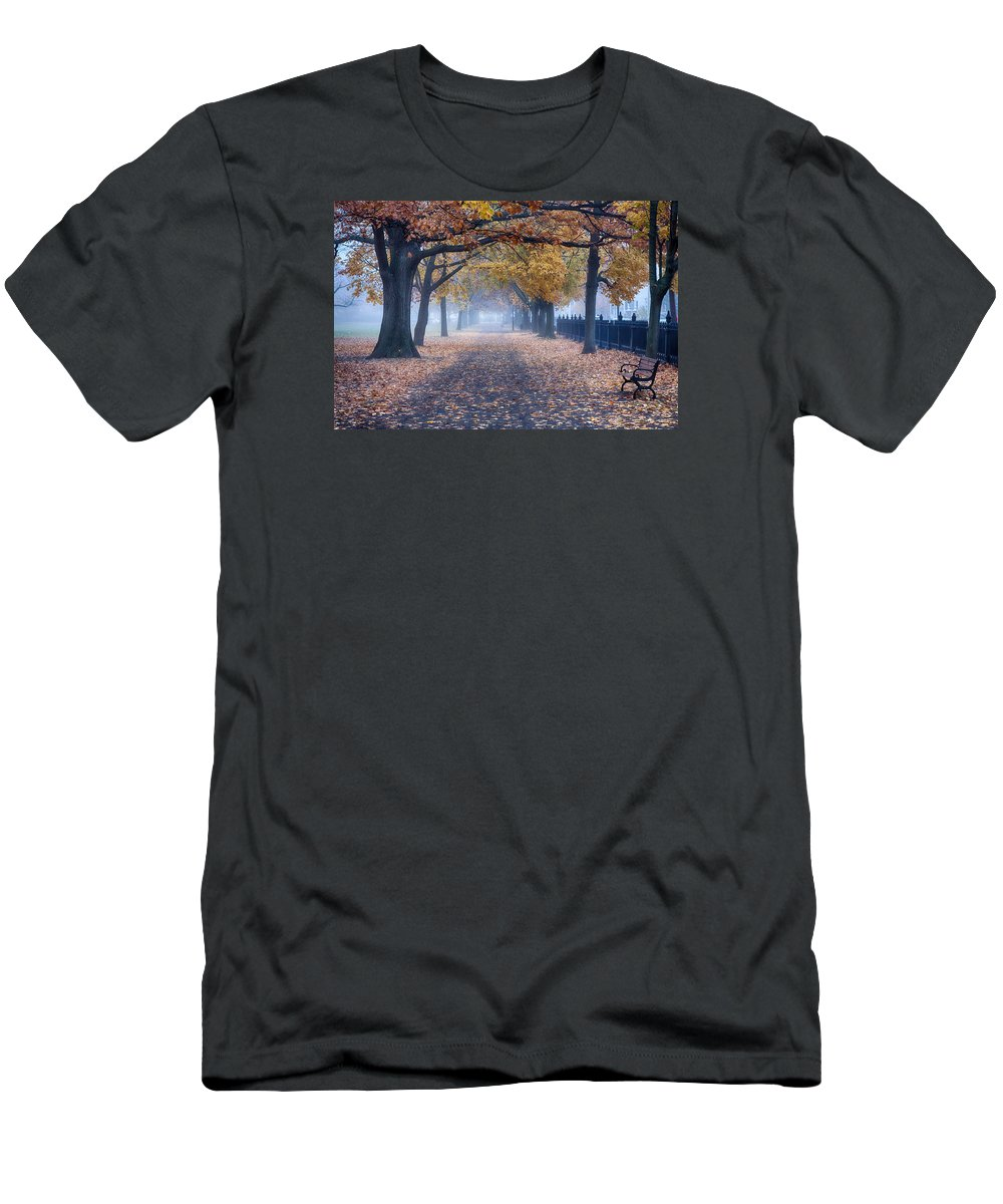 Limited Time Promotions Men's T-Shirt (Athletic Fit) featuring the photograph A Walk In Salem Fog by Jeff Folger