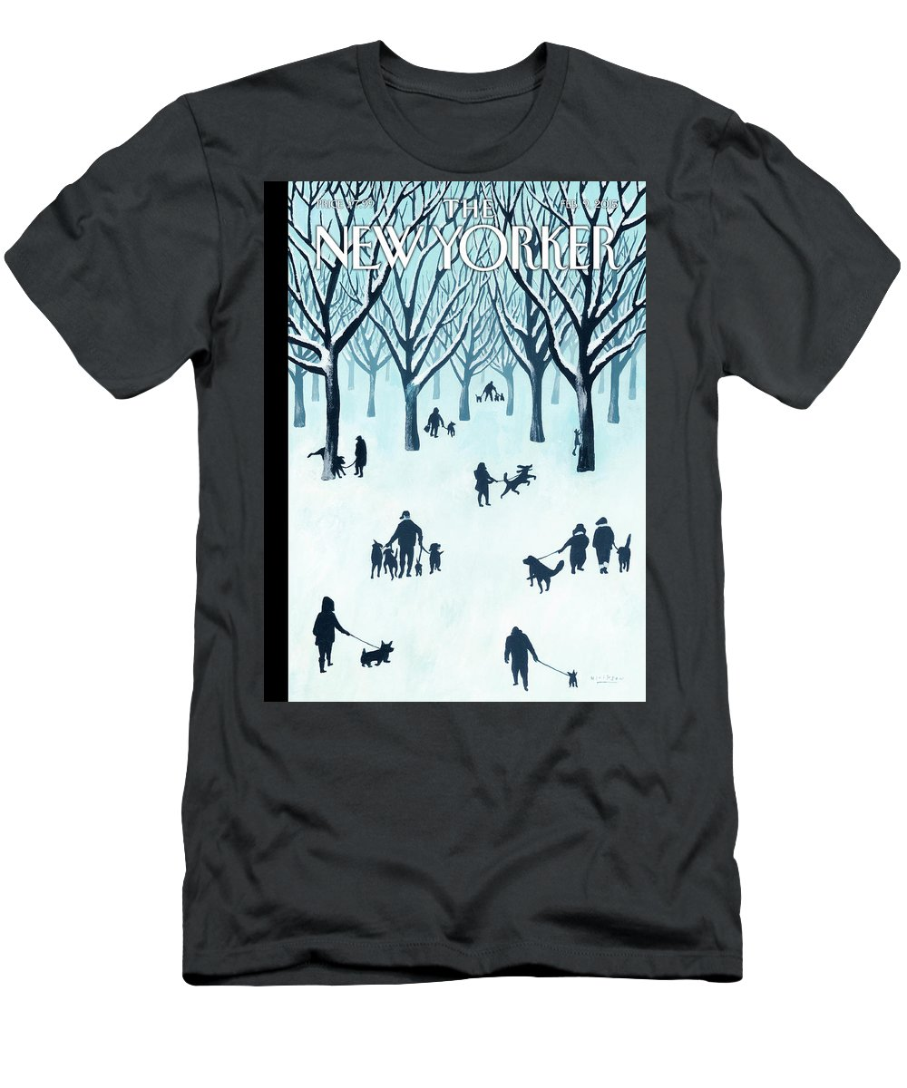 Snow Men's T-Shirt (Athletic Fit) featuring the painting A Walk In The Snow by Mark Ulriksen