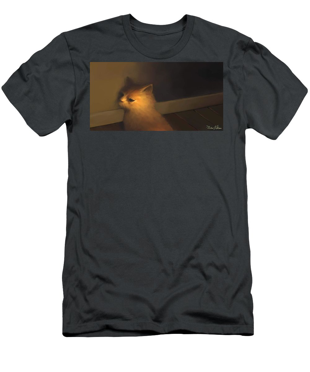 Diane Strain Men's T-Shirt (Athletic Fit) featuring the painting A Warm Corner For Kitty  No.1 by Diane Strain
