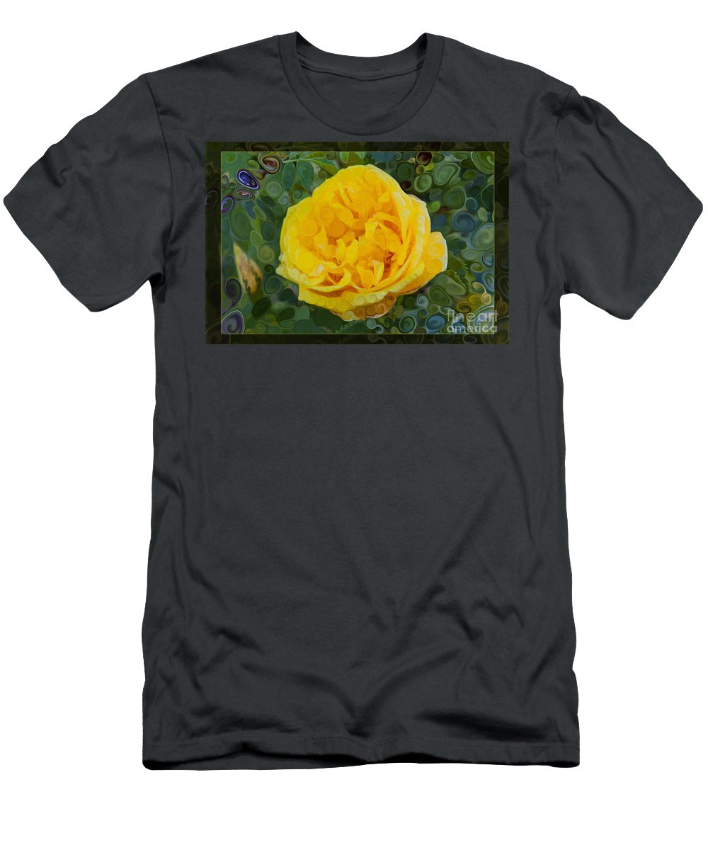 Yellow Rose Men's T-Shirt (Athletic Fit) featuring the painting A Yellow Rose Abstract Painting by Omaste Witkowski
