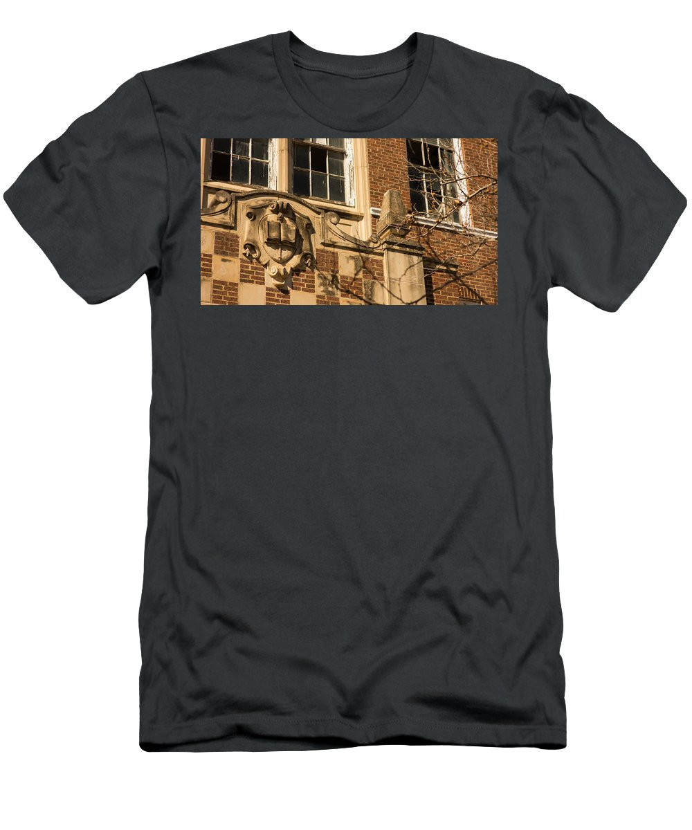 Vanishing Texas Men's T-Shirt (Athletic Fit) featuring the photograph abandoned high school 4 Coleman Texas by Trace Ready