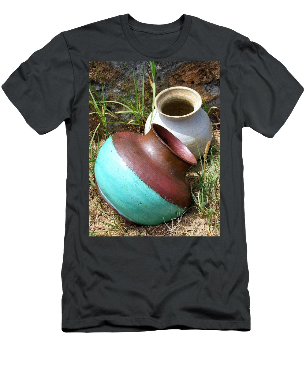 Abandoned Pots Men's T-Shirt (Athletic Fit) featuring the photograph Abandoned Pots by Mary Deal