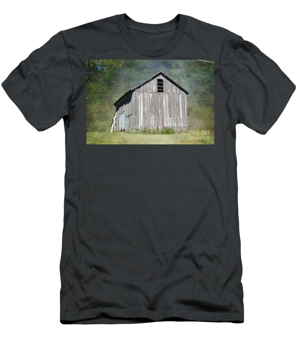 Abandoned Barn Inillinois Men's T-Shirt (Athletic Fit) featuring the photograph Abandoned Vintage Barn In Illinois by Luther Fine Art
