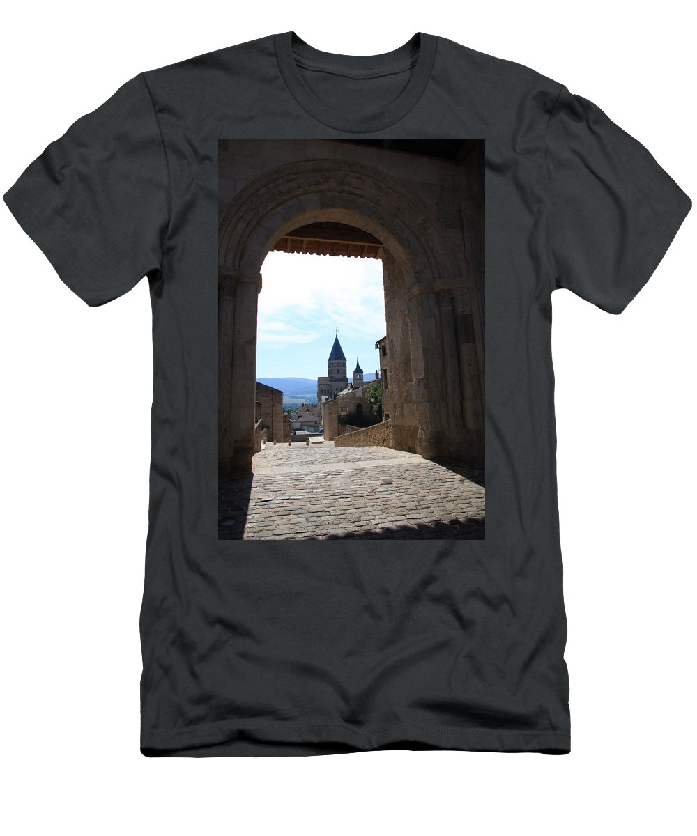 Church T-Shirt featuring the photograph Abbey Through Doorway - Cluny by Christiane Schulze Art And Photography