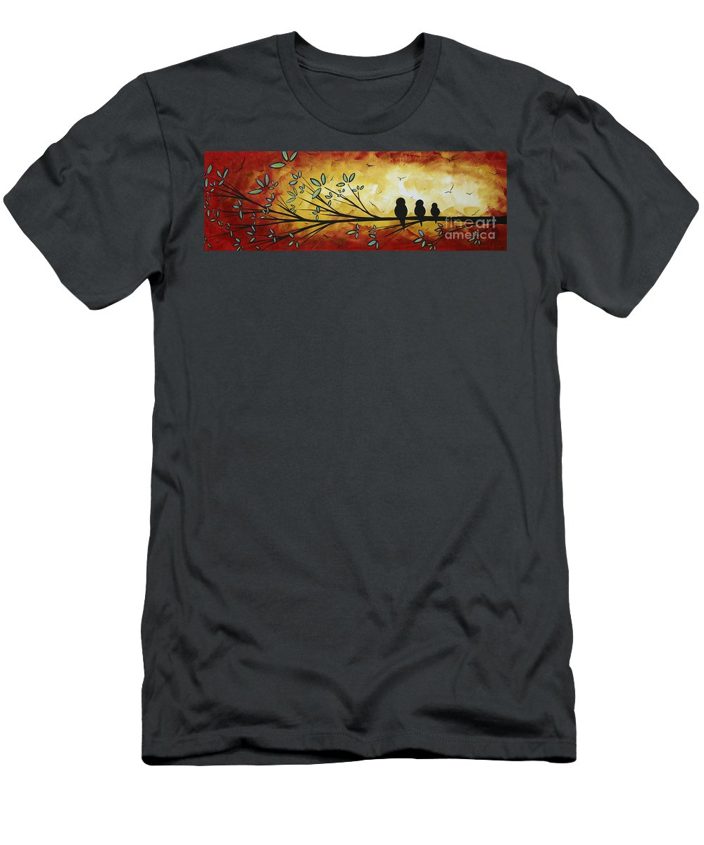 Abstract Men's T-Shirt (Athletic Fit) featuring the painting Abstract Bird Landscape Tree Blossoms Original Painting Family Of Three by Megan Duncanson