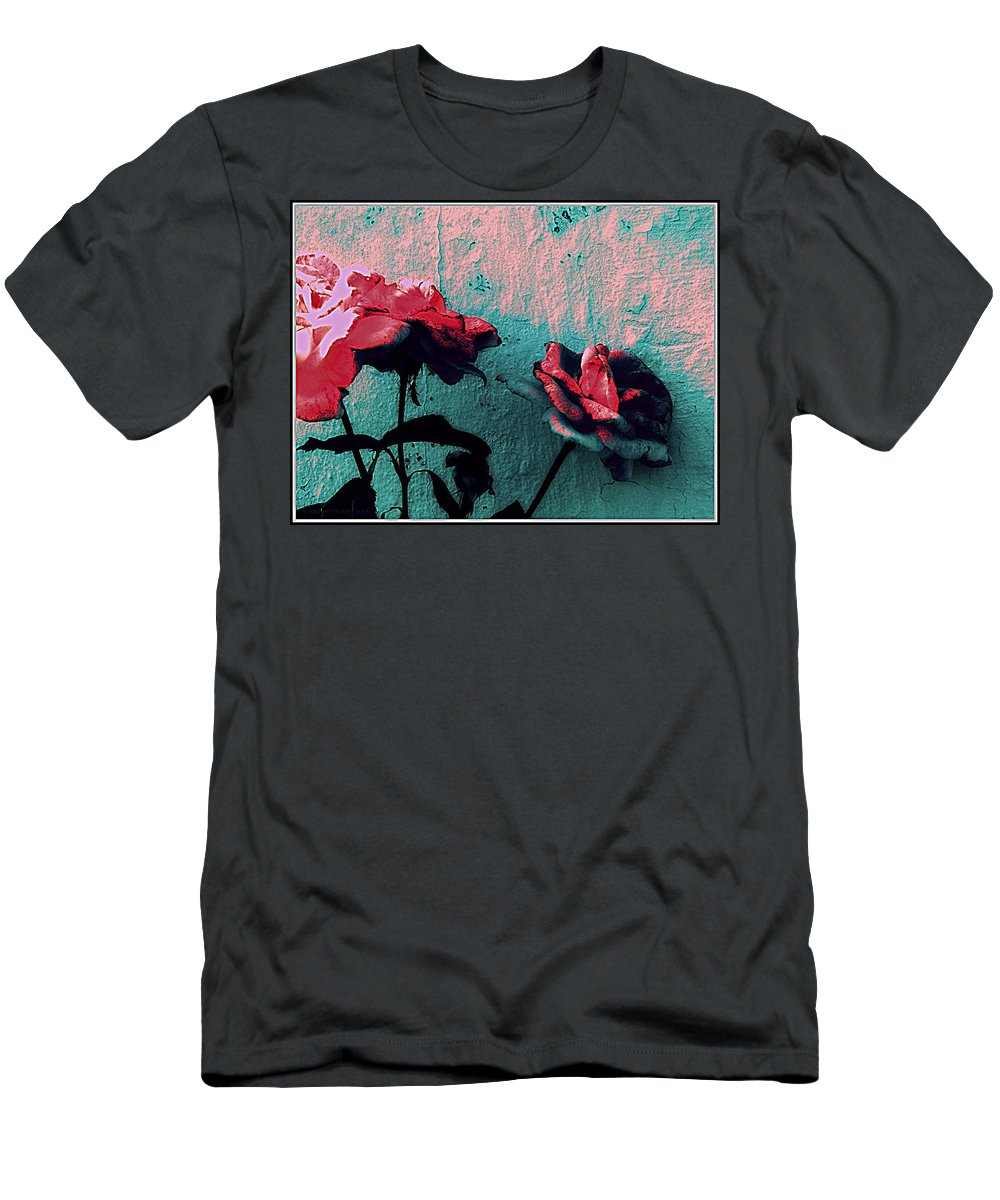 Rose Men's T-Shirt (Athletic Fit) featuring the photograph Abstract Hdr Roses by Kathy Barney