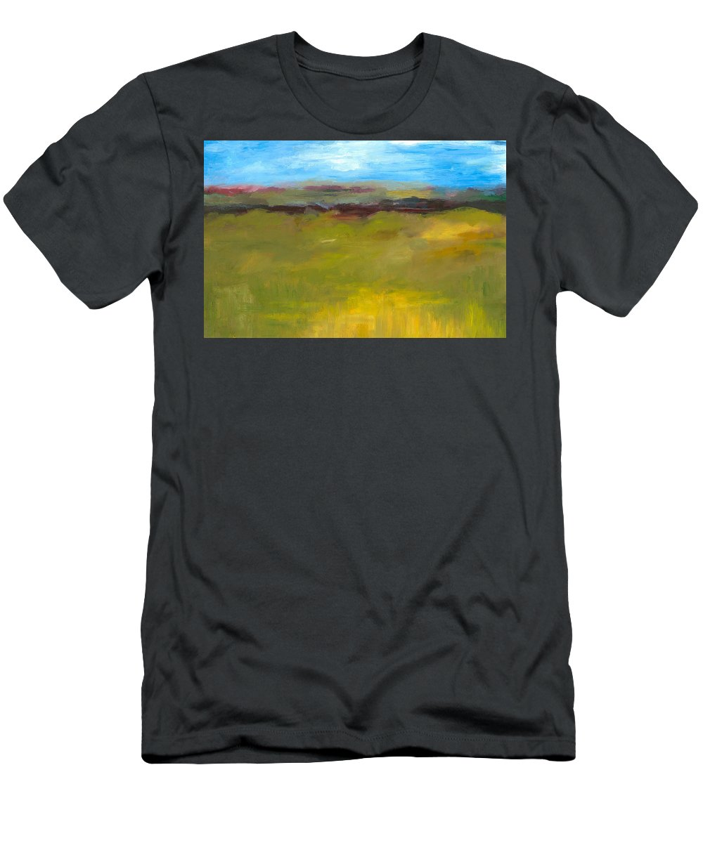 Abstract Expressionism Men's T-Shirt (Athletic Fit) featuring the painting Abstract Landscape - The Highway Series by Michelle Calkins