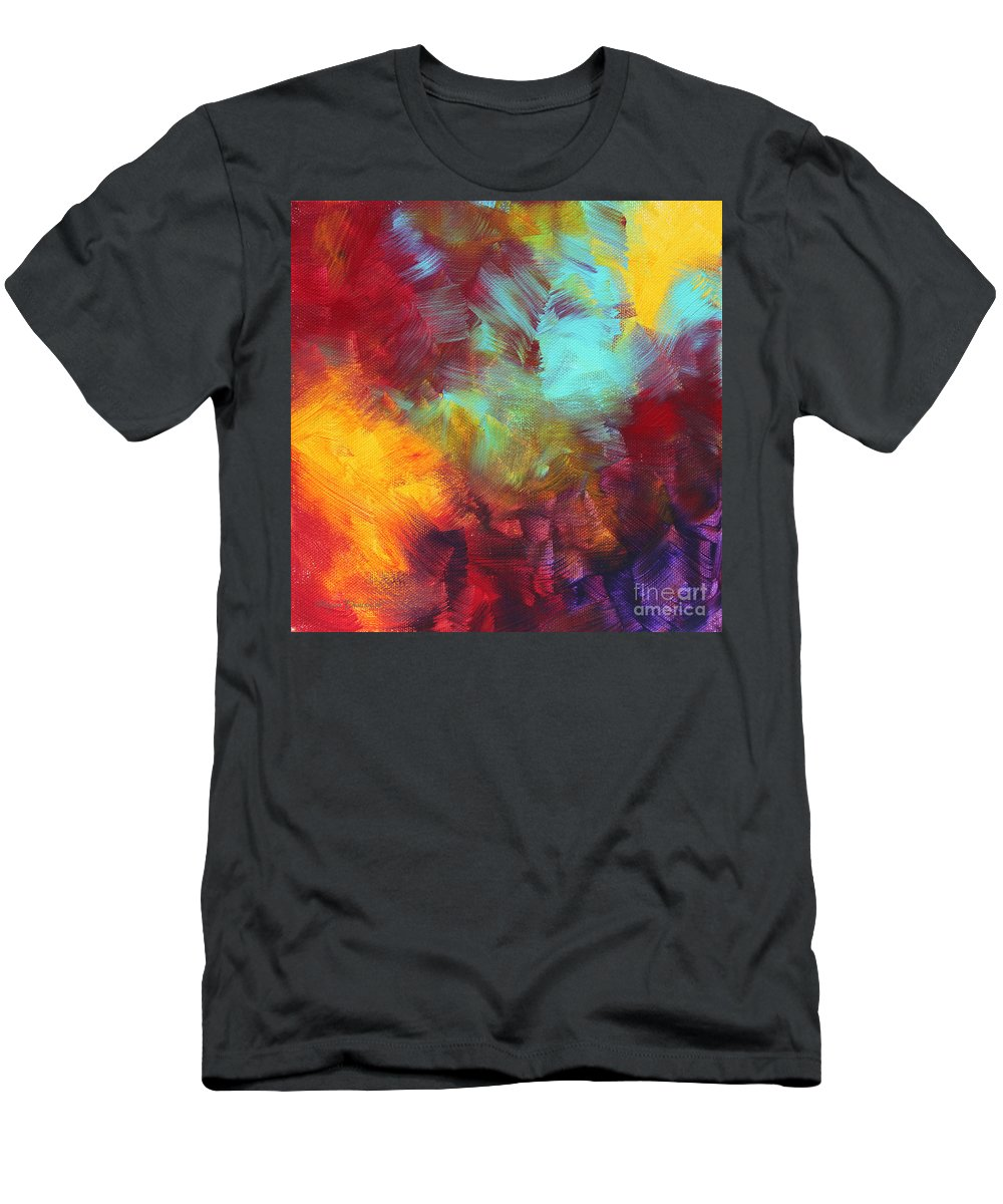 Abstract Men's T-Shirt (Athletic Fit) featuring the painting Abstract Original Painting Colorful Vivid Art Colors Of Glory II By Megan Duncanson by Megan Duncanson