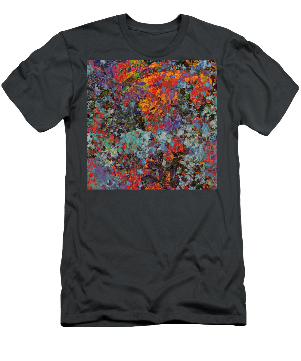 Ally White Men's T-Shirt (Athletic Fit) featuring the mixed media Abstract Spring by Ally White