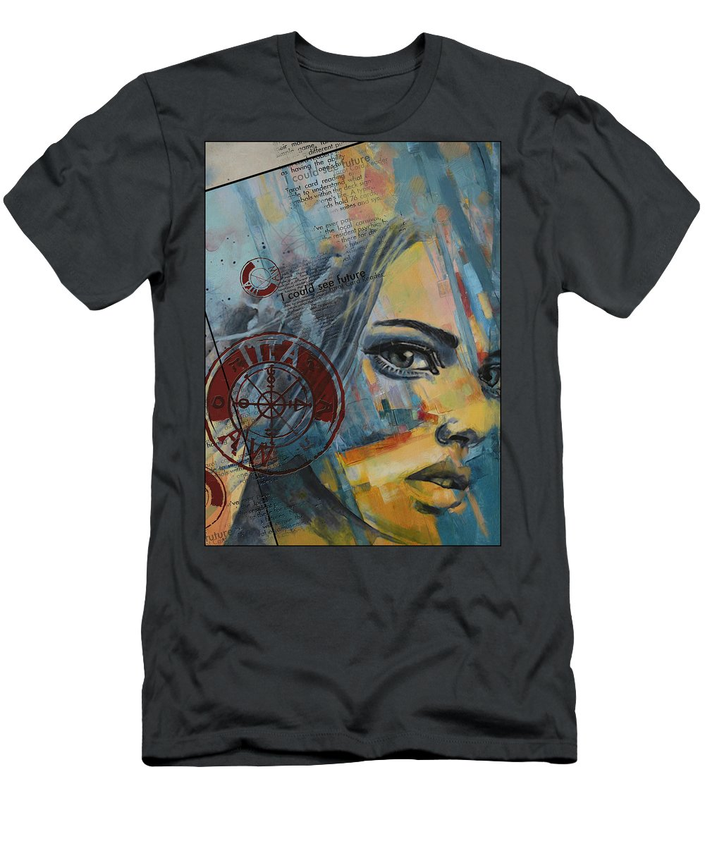 Numbers Men's T-Shirt (Athletic Fit) featuring the painting Abstract Tarot Art 022a by Corporate Art Task Force